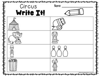 Write It! Circus Writing Center Activities