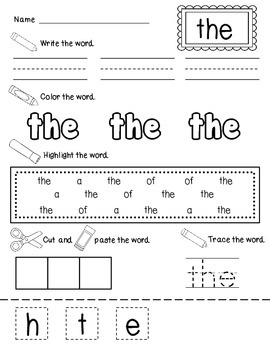 Write It, Color it, Find It, Make It Sight Word Practice