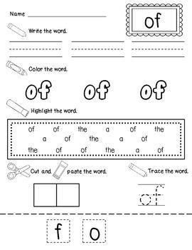 Write It, Color it, Find It, Make It Sight Word Practice