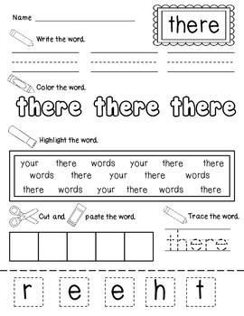 Write It, Color it, Find It, Make It Sight Word Practice: Unit 2