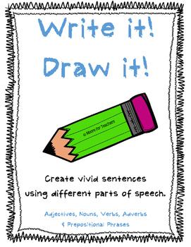 Write It! Draw It! Part of Speech Visual Sentence Activity {Freebie}