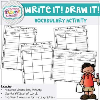 Write It!  Draw it! Vocabulary Activity