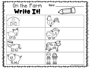 Write It! On the Farm Writing Center Activities