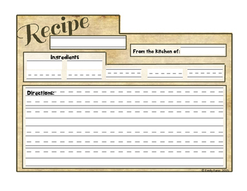 Write It Out: Blank Recipe Writing Templates