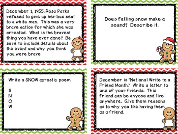 December Writing Prompt Task Cards