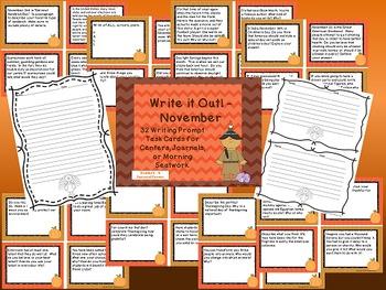 Fall Writing Prompt Task Cards for Journals, etc. - September, Oct, Nov