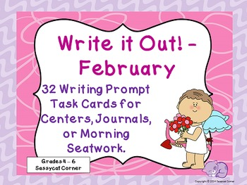 Write It Out - February Writing Prompt Task Cards
