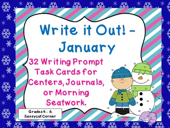 Write It Out - January Writing Prompt Task Cards