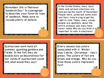 Write It Out - November Writing Prompt Task Cards