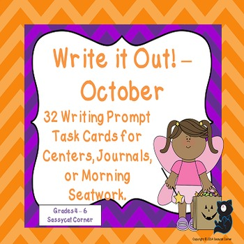 Write It Out - October Writing Prompt Task Cards