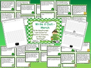 Write It Out - Spring Writing Prompt Task Cards Mini Bundle - Mar, April, & May