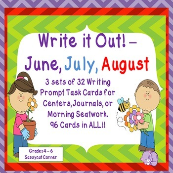 Write It Out - Summer Writing Prompt Task Cards Mini Bundle - June, July, August