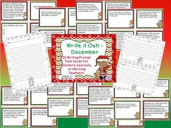 Winter Writing Prompt Task Cards Mini Bundle - Dec, Jan, & Feb
