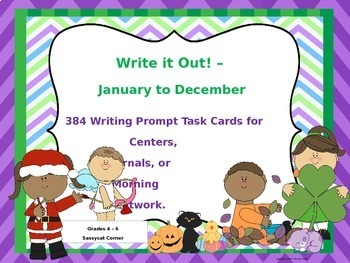 Write It Out -  Writing Prompt Task Cards Bundle for the Full Year - 12 Months