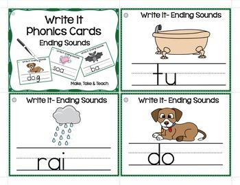 Ending Sounds - Write It Phonics Cards