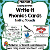 Ending Sounds - Write It Phonics Cards