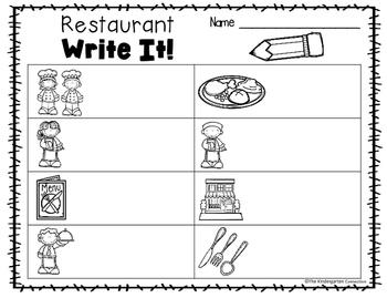 Write It! Restaurant Writing Center Activities