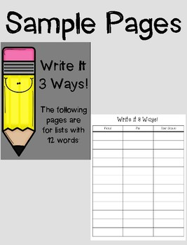 Write It! Spelling Words/Sight Words/WTW