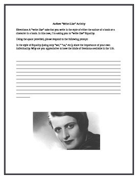 Write Like! Equality from Ayn Rand's Anthem