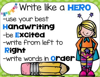 Write Like a Hero Organizer and Anchor Chart