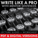 Write Like a Pro, Mentor Sentences to Improve Teen Writing, PDF & Google Drive