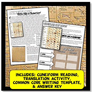 Write Like a Sumerian! Cuneiform in Mesopotamia Common Core Writing and Literacy