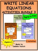 Write Linear Equations Activities Bundle 3 | Digital - Distance Learning
