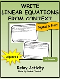 Write Linear Equations From Context Relay Activity | Digital - Distance Learning