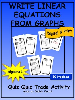 Write Linear Equations From Graphs Quiz Quiz Trade Activity