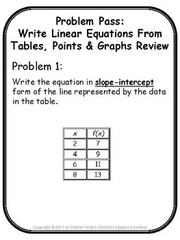 Write Linear Equations From Tables, Points & Graphs Review Problem Pass Activity