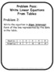 Write Linear Equations From Tables Problem Pass Activity