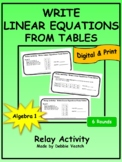 Write Linear Equations From Tables Relay Activity | Digita