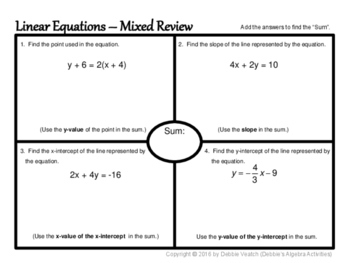 Write Linear Equations In Context & Mixed Review Placemat Activities