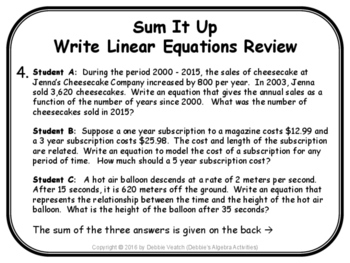 Write Linear Equations Review Sum It Up Activity