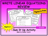 Write Linear Equations Review Sum It Up Activity | Digital - Distance Learning