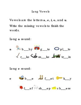 Write Long Vowels a e i o u  Kindergarten Fill in the Blanks Vowels Sight Words