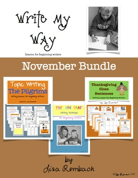 Write My Way lessons for beginning writers November Bundle
