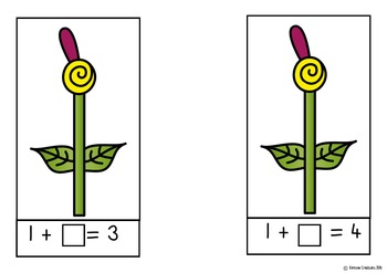 Write N Wipe Cards - Flower addends to 10, in color and black and white