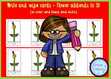 Write N Wipe Cards - Flower addends to 10, in color and bl