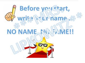 Write Name Reminder- EDITABLE No Name No Fame Chart