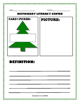 Write Now: Dictionary Library Center - December Evergreen Tree