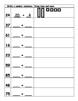 Write Number Sentence & Draw Tens and Ones to Match Given Number