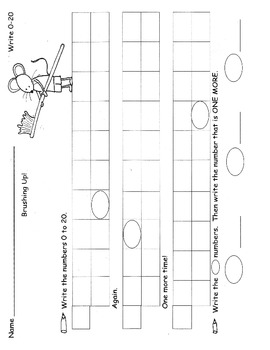 Write Numbers 0 -20 Kindergarten Common Core Worksheets Practice Homework K.CC.3