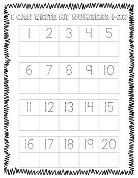 Write Numbers 1-20