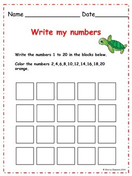 Write Numbers 1-20 Distance Learning