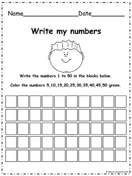 Write Numbers 1-50 (find patterns)