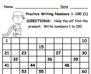 Write Numbers 1 to 100 Winter Collection Set of 6