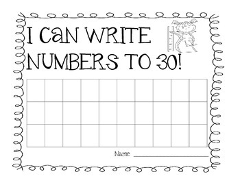Write Numbers to 30 - Summer Kid Theme - Charts