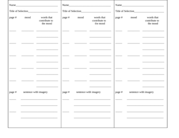 Write-On Bookmarks for Reading Skills