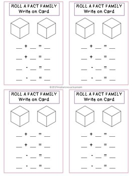 Write On Cards: Roll a Fact Family